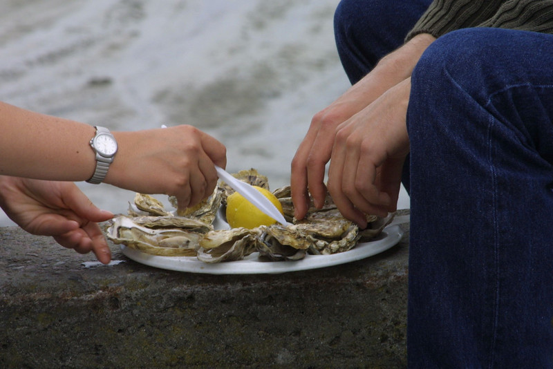 Sharing Oysters near Mont St. Michelle France