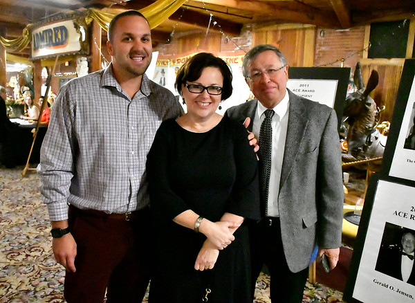 11/3/2018 Mike Orazzi | Staff Bristol Mayor Ellen Zoppo-Sassu, this years ACE Award recipient for art, culture and entertainment, with city councilors Josh Medeiros and Dave Preleski Saturday night at the New England Carousel Museum.