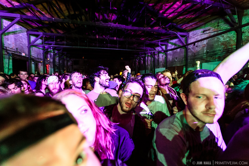 Crowd during The King Khan & BBQ Show at The Goat Farm Art Center in Atlanta, Georgia on Saturday, Oct. 4, 2014