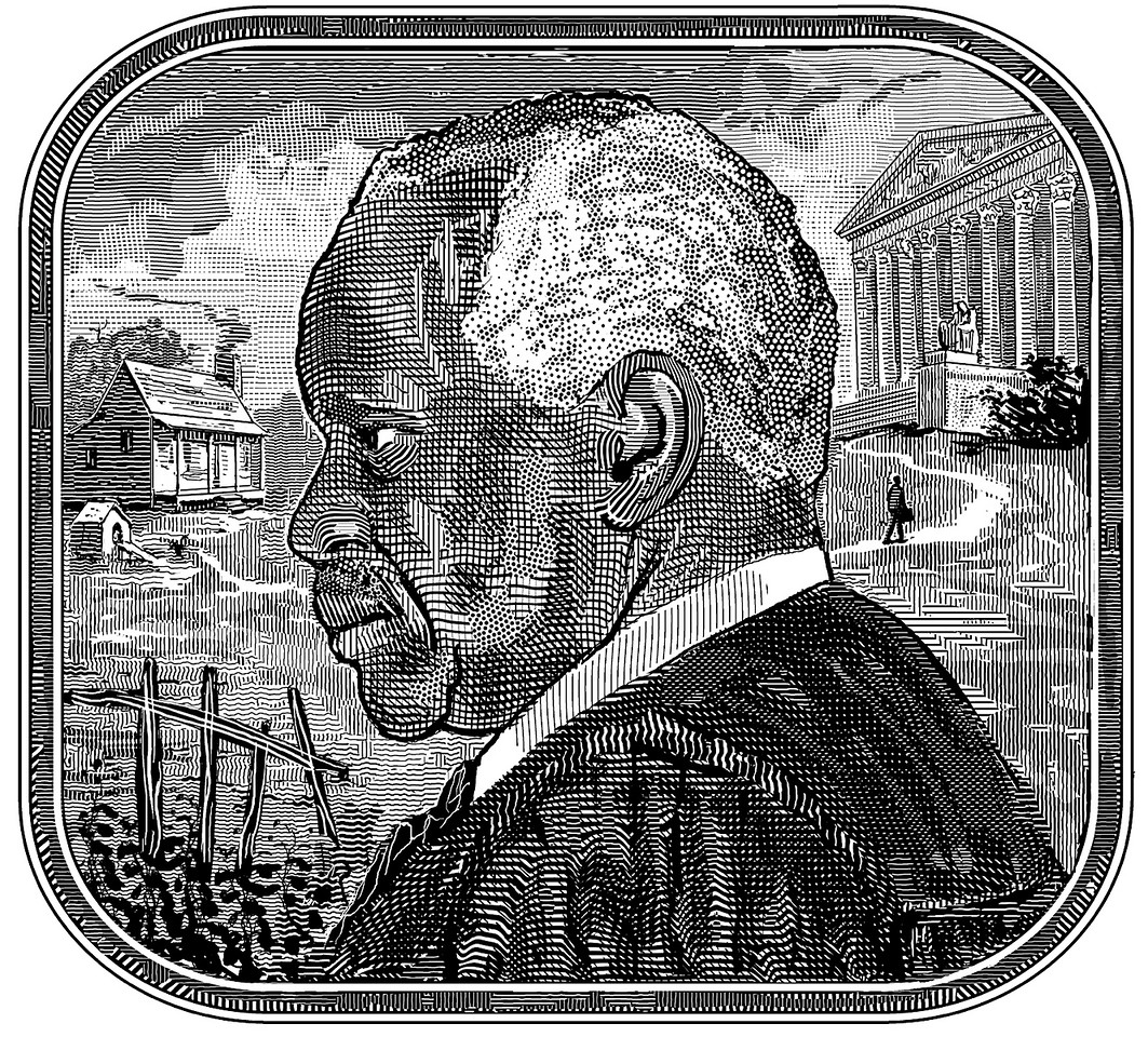 Portrait of Justice Clarence Thomas; illustration from the cover of the Claremont Review of Books; summer, 2008