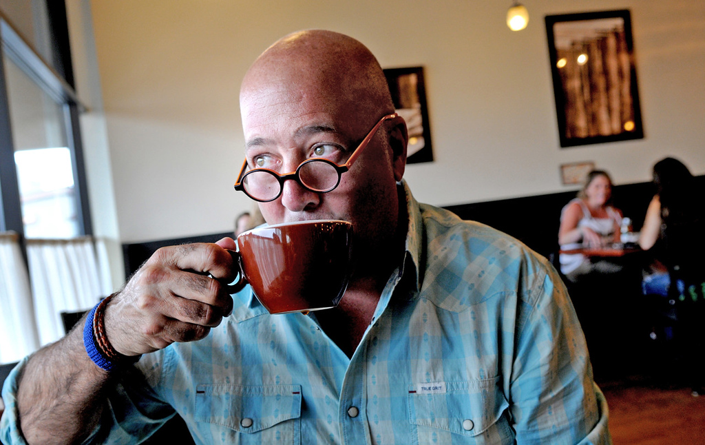 ". ""�My life kept getting better; my world just kept getting sweeter, and a lot of it had to do with the community of people I was living in and among,� said writer, chef and television host Andrew Zimmern, having a coffee at Rustica on Lake Street in Minneapolis on Tuesday July 1, 2014. In 1992 he moved to Minnesota where he went to Hazelden Treatment Center for alcohol and drug addiction treatment, and has since stayed.  (Pioneer Press: Jean Pieri)"