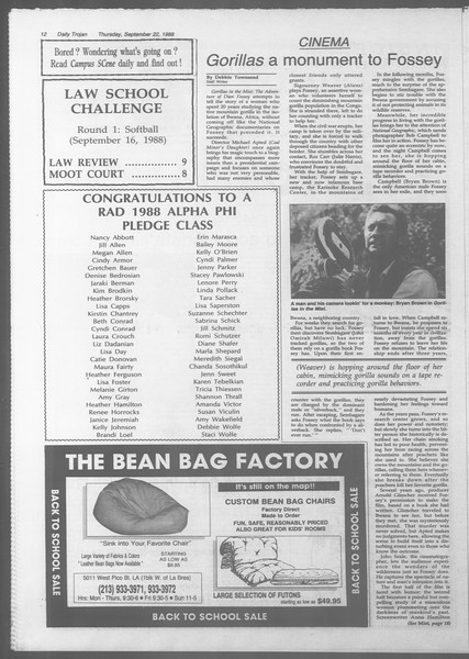 Daily Trojan, Vol. 107, No. 12, September 22, 1988