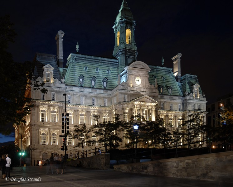 Montreal City Hall at night.