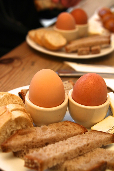 """PARIS, May 14, 2013 Our soft boiled eggs and toast """"soldiers"""" for dipping"""
