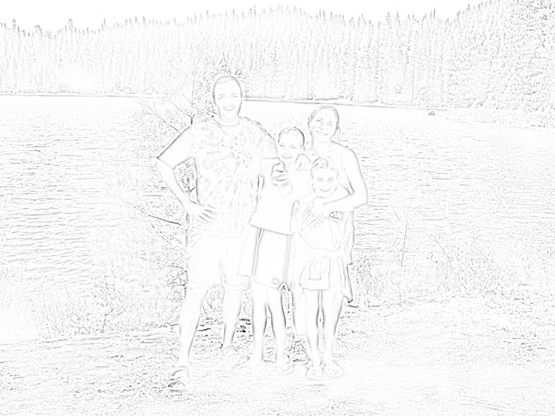 """The first step was to apply a """"photocopy"""" filter to the original photograph in Photoshop. I then increased the contrast and lightened the image to create a cartoony (coloring-book) effect. I up-sampled this image to something like 45""""x60"""", then exported to Illustrator. I adjusted the document format to tile the image onto 40 sheets of paper, and then printed directly from Illustrator onto card stock. We then passed the pages around the family, with the instructions to be a little creative. After they were all colored (or painted, etc.), I scanned them back into Photoshop and reassembled the image."""