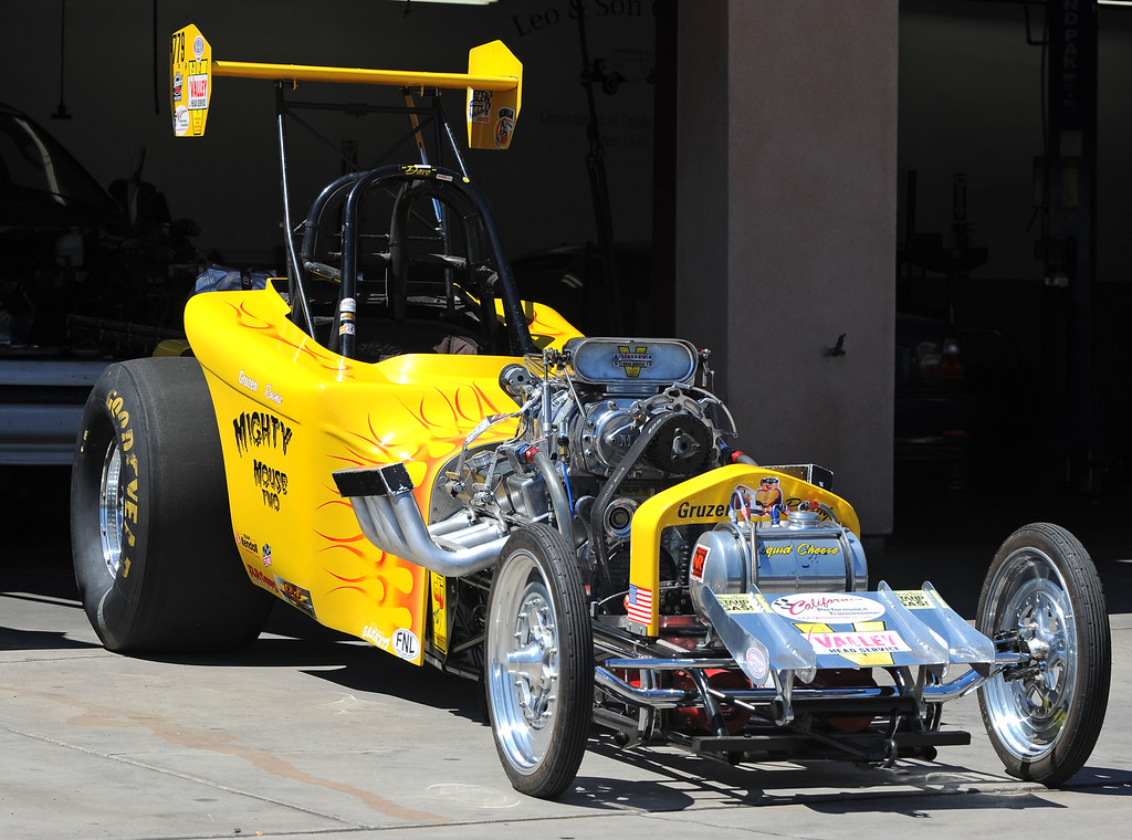 . The Gruzen Racing team is ready for this weekends Bellflower Car Show as they gather with two of their race cars at Leo and Sons Garage in Bellflower, CA on Wednesday, September 4, 2013. The Mighty Mouse Two is ready for the show. (Photo by Scott Varley, PRESS-TELEGRAM)