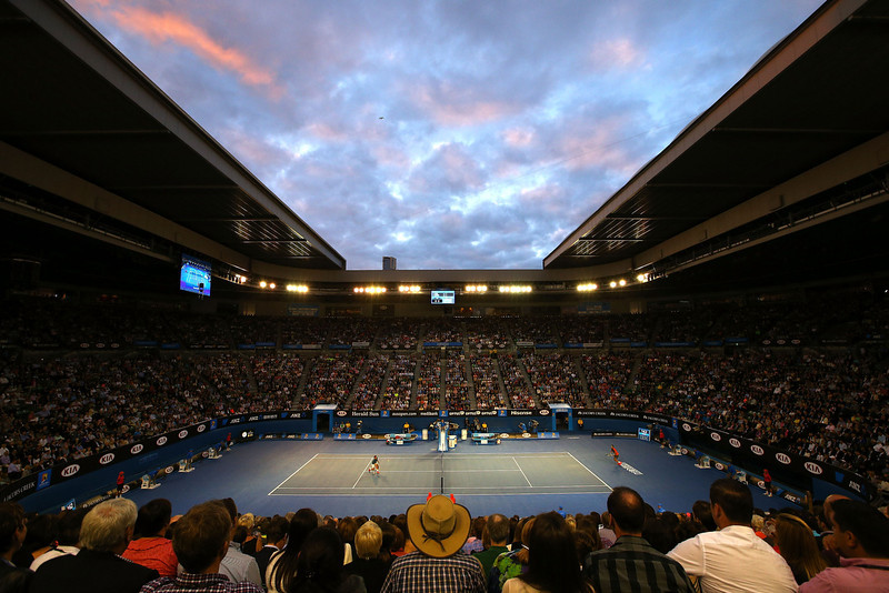 . A general view of Rod Laver Arena as Roger Federer of Switzerland plays a forehand in his semifinal match against Rafael Nadal of Spain during day 12 of the 2014 Australian Open at Melbourne Park on January 24, 2014 in Melbourne, Australia.  (Photo by Michael Dodge/Getty Images)