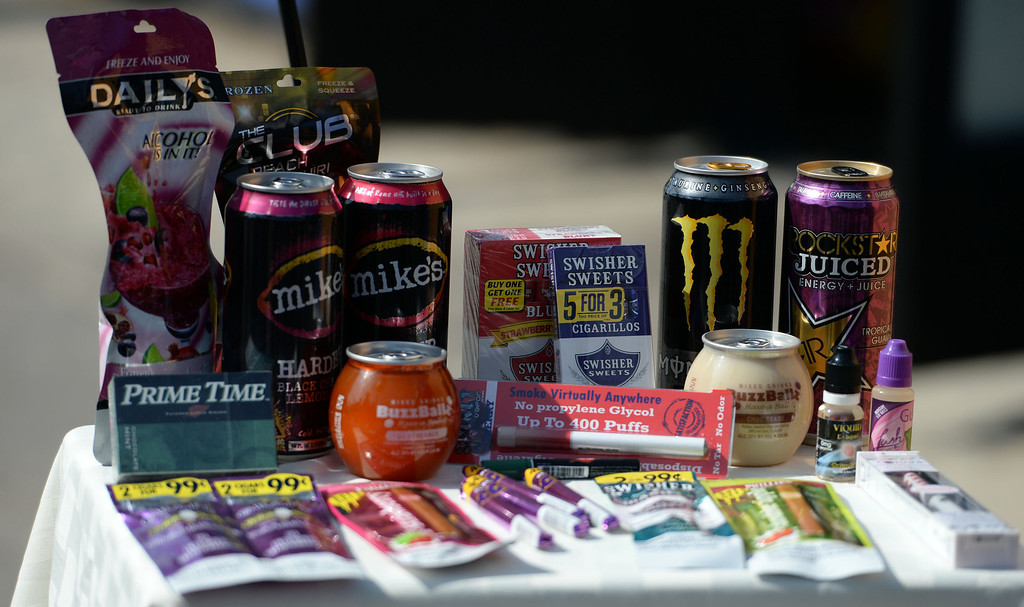 . A display of tobacco and high sugar foods during a press conference announcing new data on the availability and marketing of tobacco, alcohol and food products in stores at Euclid Market in Los Angeles on Wednesday, March 5, 2014.  (Keith Birmingham Pasadena Star-News)