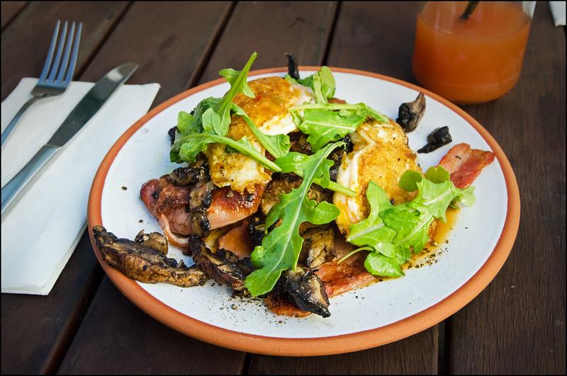 Cajun meatloaf, bacon, fried 52's (eggs), honey brown mushrooms (gf) ($15.5)