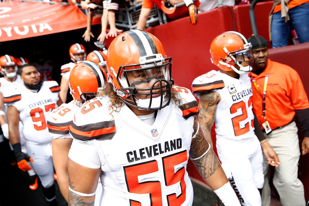 . Cleveland Browns nose tackle Danny Shelton (55) and others wait to come on the field before an NFL football game against the Washington Redskins, Sunday, Oct. 2, 2016, in Landover, Md. (AP Photo/Carolyn Kaster)