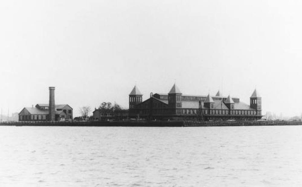 Description of . Ellis Island 1892 On January 1, 1892, Ellis Island opened in New York Harbor as America's first federally-operated immigration station. In June 1897, the station burned down in a fire. While no one was seriously injured, the station was completely destroyed. It would have to be re-built. (NPS Photo)