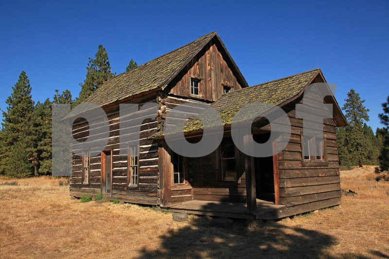 The historic Whitcomb-Cole log cabin located within the Conboy National Wildlife Refuge, near Glenwood, WA.