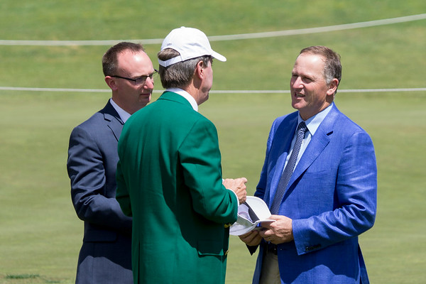 Former New Zealand Prime Minister John Key (blue jacket) talking to Masters Chairman Ridley (green jacket) on Day 3 of the Asia-Pacific Amateur Championship tournament 2017 held at Royal Wellington Golf Club, in Heretaunga, Upper Hutt, New Zealand from 26 - 29 October 2017. Copyright John Mathews 2017.   www.megasportmedia.co.nz