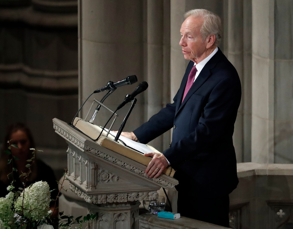 . Former Sen. Joseph Lieberman speaks during a memorial services for Sen. John McCain, R-Ariz., at Washington National Cathedral in Washington, Saturday, Sept. 1, 2018. McCain died Aug. 25, from brain cancer at age 81. (AP Photo/Pablo Martinez Monsivais)