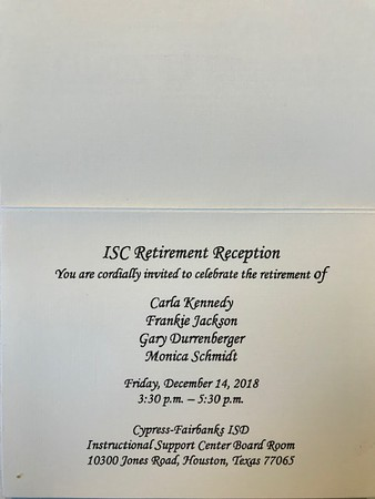 2018 12-14 My CFISD Retirement Reception