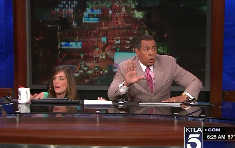 """. <p><b> Some Los Angeles news anchors became viral stars on Monday thanks to their live reactions when they first realized that � </b> <p> A. They were having an earthquake <p> B. Gunfire broke out near their studio <p> C. They�re living in the world�s most godforsaken hell hole <p><b><a href=\'http://www.slate.com/blogs/the_slatest/2014/03/17/ktla_anchor_s_earthquake_chris_schauble_s_panicked_response_goes_viral.html?wpisrc=burger_bar\' target=\""""_blank\"""">HUH?</a></b> <p>   (Photo from YouTube)"""