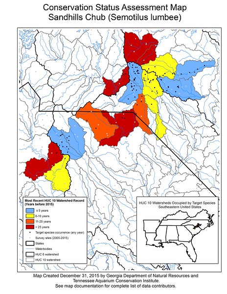 Conservation Status Assessment Map for Sandhills Chub (Semotilus lumbee)