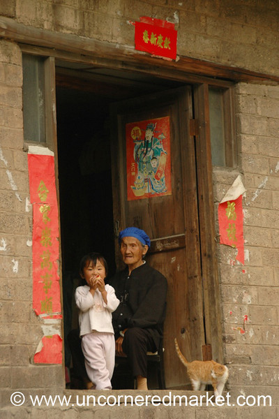 Chinese Girl with Grandmother - Guizhou Province, China