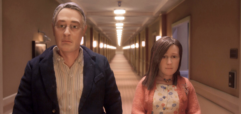 """. This image released by Paramount pictures shows characters Michael Stone, voiced by David Thewlis, left, and Lisa Hesselman, voiced by Jennifer Jason Leigh in a scene from the animated stop-motion film, \""""Anomalisa.\"""" The film was nominated for an Oscar for best animated picture on Thursday, Jan. 14, 2016. The 88th annual Academy Awards will take place on Sunday, Feb. 28, at the Dolby Theatre in Los Angeles. (Paramount Pictures via AP)"""