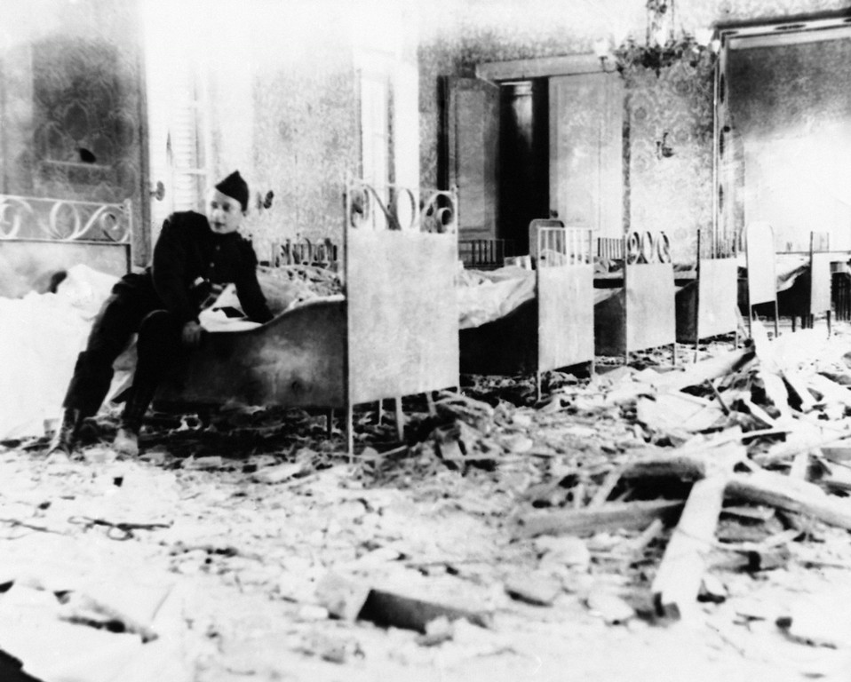 . State Room of the Cardinal of Malines in Belgium which had turned into a Red Cross ward, wrecked by an enemy shell during World War I in an undated photo. (AP Photo)