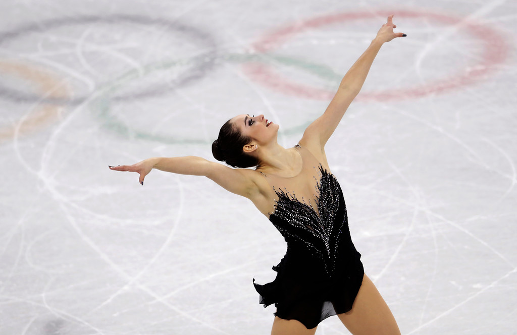 . Kaetlyn Osmond of Canada performs during the women\'s free figure skating final in the Gangneung Ice Arena at the 2018 Winter Olympics in Gangneung, South Korea, Friday, Feb. 23, 2018. (AP Photo/Petr David Josek)