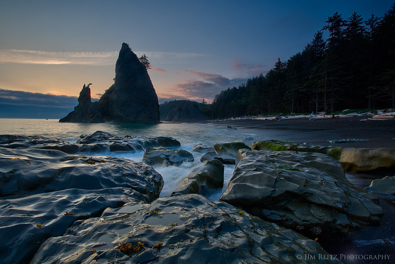 Waves at sunset, Rialto Beach