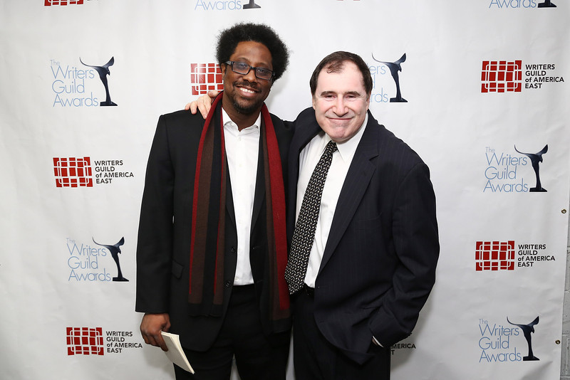 . Comedian W. Kamau Bell (L) and actor Richard Kind pose backstage at the 65th annual Writers Guild East Coast Awards at B.B. King Blues Club & Grill on February 17, 2013 in New York City.  (Photo by Neilson Barnard/Getty Images)