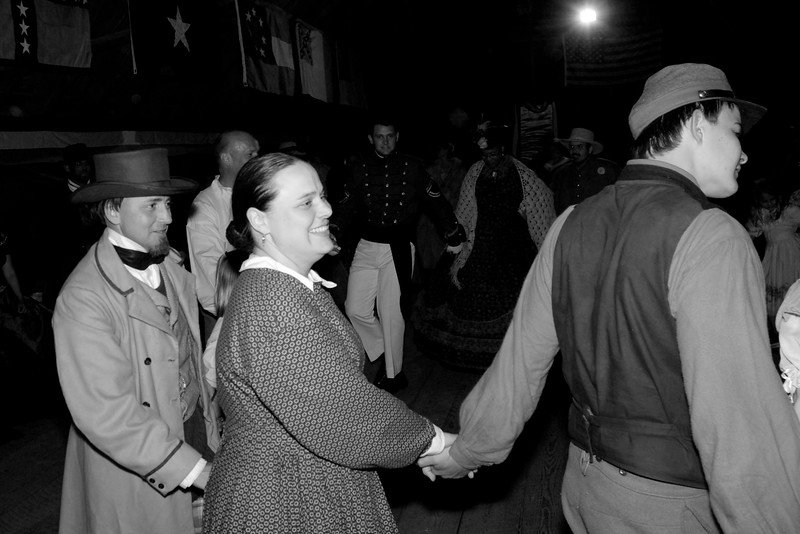 The reenactors for The Skirmish at Gamble's Hotel gathered for a period-specific barn dance with music provided by The Crescent Moon Rounders at a barn on the Rankin Plantation in Florence, South Carolina on Saturday, March 5, 2011. Photo Copyright 2011 Jason Barnette
