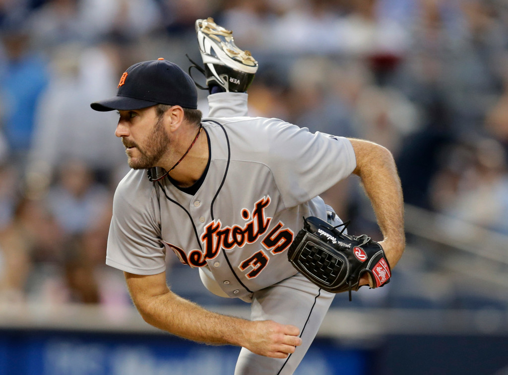 . Detroit Tigers starting pitcher Justin Verlander follows through on a pitch in the second inning a baseball game against the New York Yankees at Yankee Stadium in New York, Wednesday, Aug. 6, 2014.  (AP Photo/Kathy Willens)