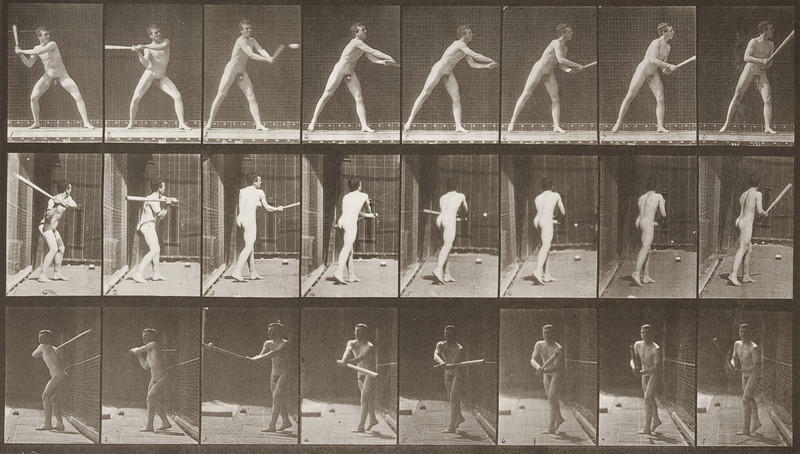 Nude man playing baseball, batting (Animal Locomotion, 1887, plate 277)