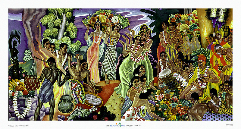 068: Eugene Savage 'Island Feast' Vintage Hawaiian cruise liner menu illustration (ca. 1948)
