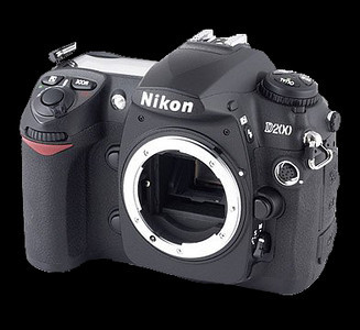 Nikon D200 with lens removed to give sensor access for cleaning