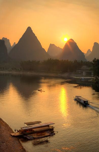 "Yangshuo Sunrise. 14"" x 22"""