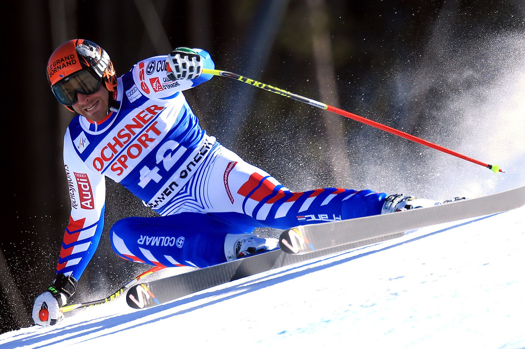 . Thomas Mermillod Blondin of France skis to ninth place in the men\'s Super G on the Birds of Prey at the Audi FIS World Cup on December 1, 2012 in Beaver Creek, Colorado.  (Photo by Doug Pensinger/Getty Images)