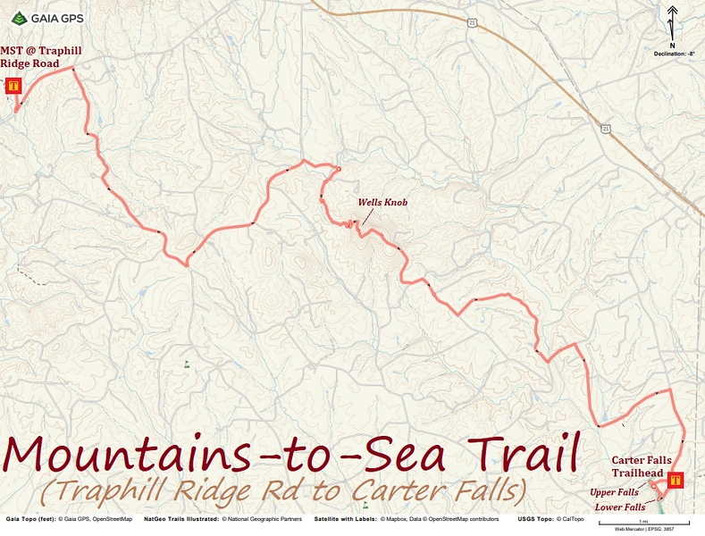 MST - Traphill Ridge Road to Carter Falls Hike/Bike Route Map