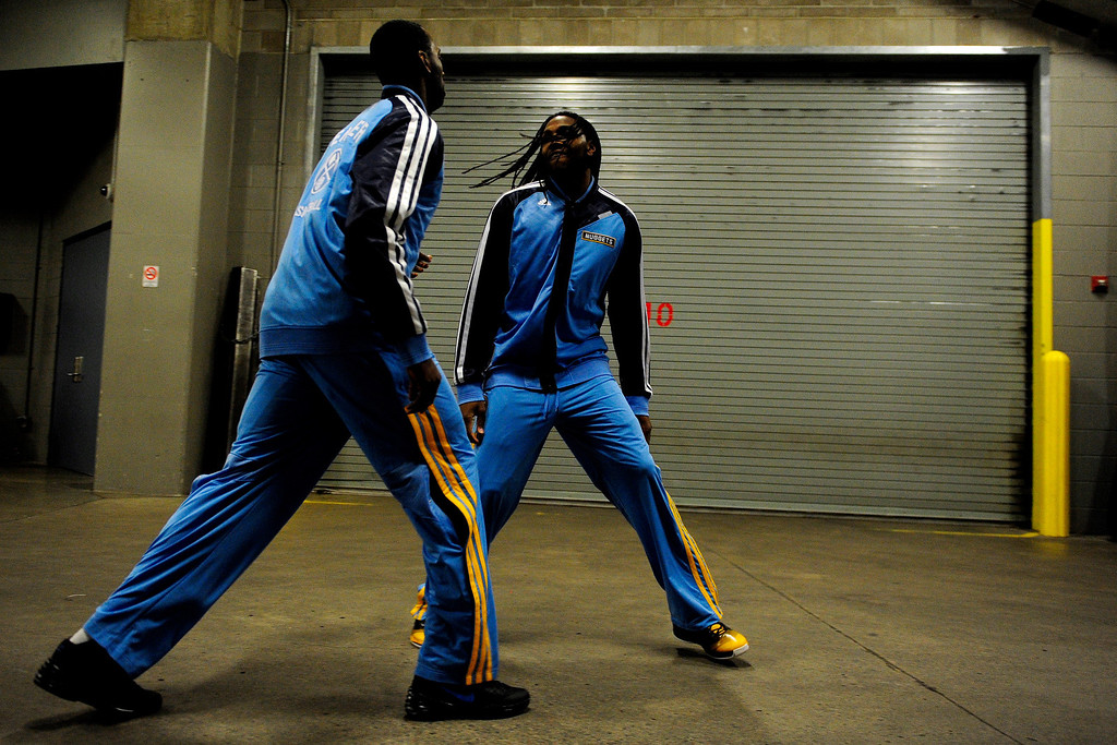 . J.J. Hickson (7) of the Denver Nuggets and Kenneth Faried (35) prepare for the first half against the Miami Heat. (Photo by AAron Ontiveroz/The Denver Post)