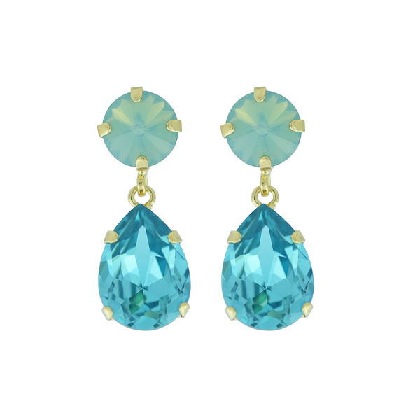 Classic Drop Earrings / Pacific Opal + Light Turquoise