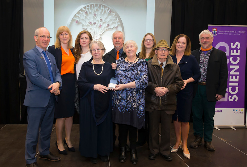 "09/03/2019. Family of Una McDermott presented with the Inaugural ""Una McDermott Award for Contribution to Science"" At the Waterford Institute of Technology Science Careers Day – 8th March, at the WIT Arena, pictured are Peter O'Loughlin WIT, with Una's sister's and brother, Patricia Billett, Aidan McDermott and Eva Creely with Orla O'Donovan WIT. Picture: Patrick Browne"