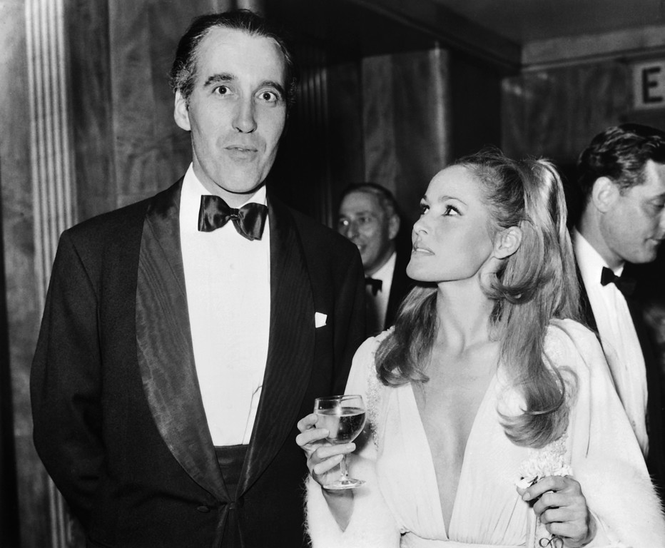 . An archive photo taken on November, 1973 shows British actor Sir Christopher Lee and Swiss actress Ursula Andress.  AFP PHOTO        (AFP/Getty Images)