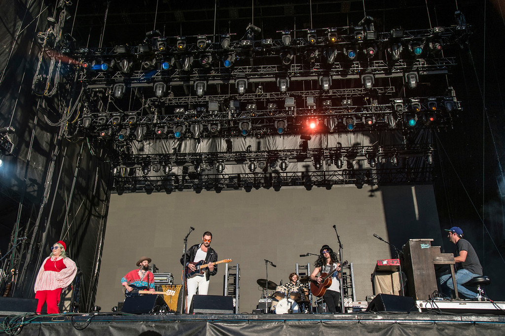 . Charity Rose Thielen, from left, Chris Zasche, Jonathan Russell, Matt Gervais and Kenny Hensley of The Head and the Heart perform at the Voodoo Music Experience in City Park on Sunday, Oct. 29, 2017, in New Orleans. The Head and The Heart will perform at Jacobs Pavilion on June 3. For more information, visit www.nauticaflats.com. (Photo by Amy Harris/Invision/AP)