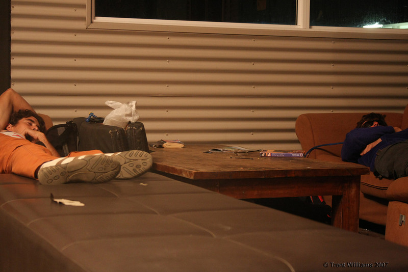 We ran out of time to book accomodation, so it was the couches for us. Photo by Trent Williams
