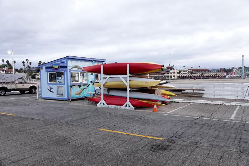 The Santa Cruz Wharf kayak shop.