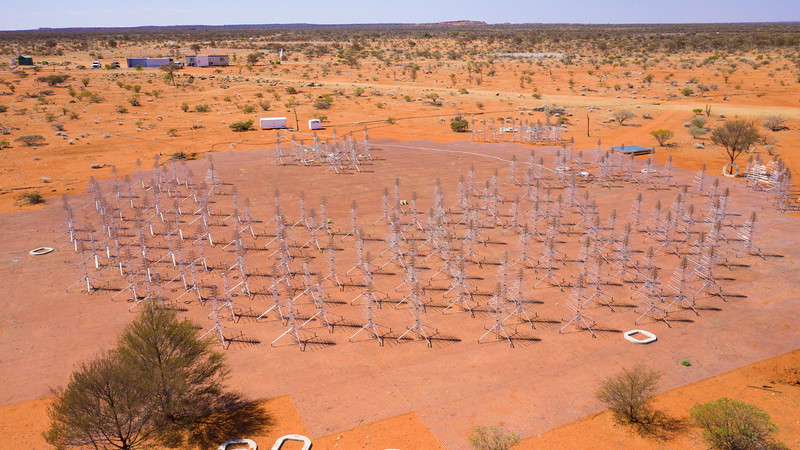 An aerial view of the construction of the Aperture Array Verification System (AAVS) station. Credit: ICRAR/Curtin.