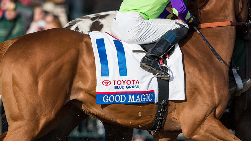 Good Magic (Curlin) wins the Bluegrass Stakes (G2) at Keeneland on 4.7.2018. Jose Ortiz up, Chad Brown trainer, E five RacingThoroughbreds and Stonestreet Stables owners.