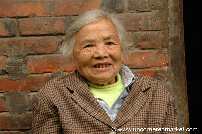Old Chinese Woman, Warm Smile - Chengdu, China