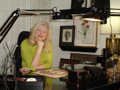 Morgan's studio's main art table