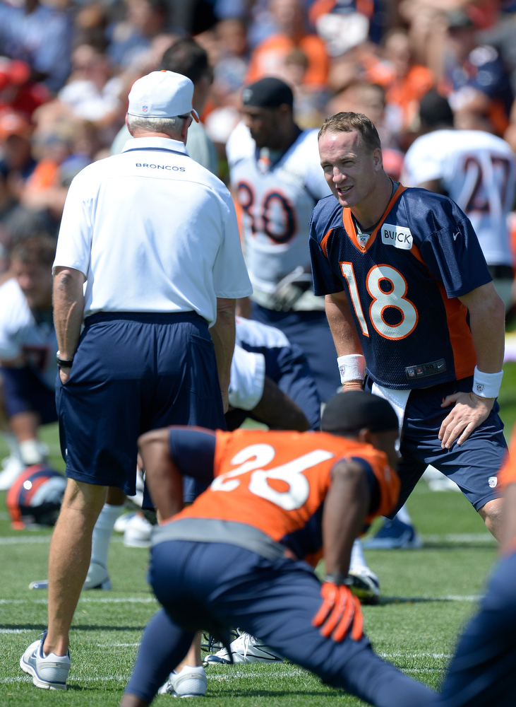 . Denver Broncos QB Peyton Manning (18) talks with head coach John Fox during training camp July 26, 2013 at Dove Valley. (Photo By John Leyba/The Denver Post)