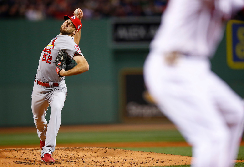 . St. Louis Cardinals starting pitcher Michael Wacha throws during the first inning of Game 2 of baseball\'s World Series against the Boston Red Sox Thursday, Oct. 24, 2013, in Boston. (AP Photo/Jared Wickerham, Pool)