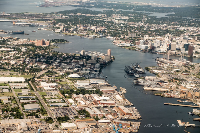 Portsmouth, VA in the foreground, Norfolk, VA across the river.