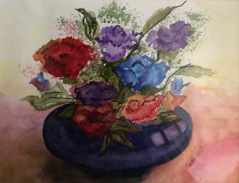 Purple Vase with Flowers